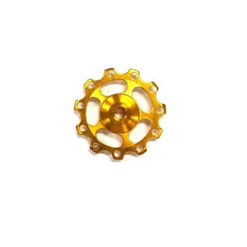 Roldana Cambio Aluminio Com Rolamento Dourada