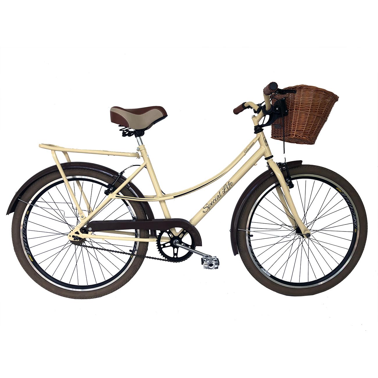 Kit Bicicleta 26 Retro Cestão Vime Creme